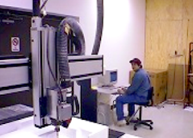 CNC機械での切削風景